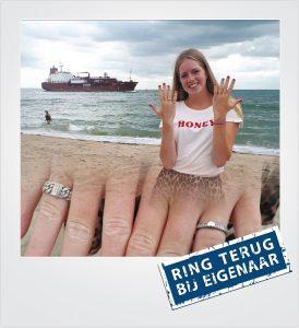 Zilveren ring verloren strand Dishoek Metaaldetector Zoekservice Zeeland